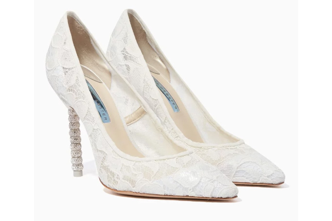 Sophia Webster - Ivory Lace Coco Crystal Pumps